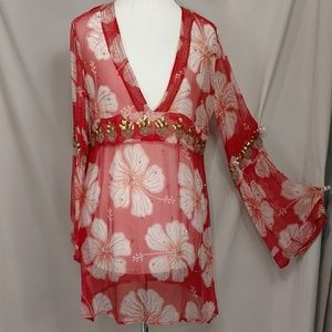 Red Silk Exceptional Cover up Letarte Beach Tunic